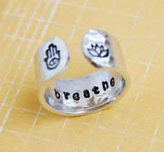 Hey, I found this really awesome Etsy listing at https://www.etsy.com/listing/183608641/breathe-secret-message-ring-hamsa-hand