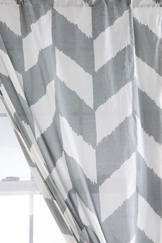 This Herringbone Curtain in a room with blacks, greys and yellow! #UrbanOutfitters