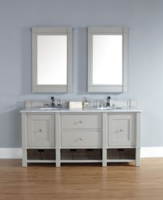 "James Martin 800-V72-DVG-CAR Madison 72"" Dove Gray Double Vanity with Carrera White Stone Top"