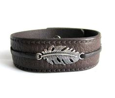 Mens feather bracelet brown leather mens cuff by Bravemenjewelry
