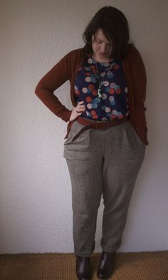 Tapered wool trousers (alas, no pattern or tutorial, as these were purchased custom, but it shouldn't be too difficult to find a pattern)