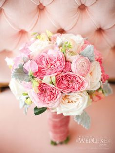 Pretty pink bridal bouquet in Pink Champagne Wish wedding shoot