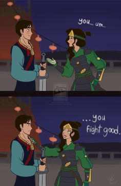 Mulan x Avatar crossover - Asami as Shang, Iroh II as Mulan Disney Pixar, Disney Memes, Disney Fan Art, Disney Animation, Disney And Dreamworks, Disney Cartoons, Disney Gender Swap, Gender Bent Disney, Disney Gender Bender