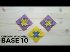 How to fold another origami windmill base model. Origami Quilt, Origami And Kirigami, Origami Stars, Origami Paper, Paper Art, Paper Crafts, Diy Crafts, Origami Windmill, Paper Quilt