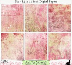 Instant Download Distressed Pink and Red Painted Papers by JustBYourself, $3.00 (1856)