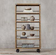 RH's Wood & Steel Shelving:Pairing solid unfinished pine timbers and industrial-quality steel, our shelf blends new and old to handsome effect.
