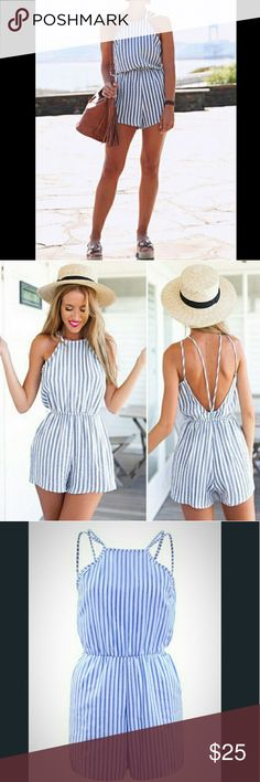 WOMEN'S BLUE & WHITE STRIPE ROMPER WOMEN'S BLUE & WHITE STRIPE ROMPER COLOR : White And Blue PATTERN : Striped Backless Spaghetti Strap Jumpsuit Halter Top Fashion  100% Polyester SIZE : (14 ) X-LARGE Boutique Pants Jumpsuits & Rompers