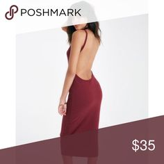 Suede Midi Dress This low back dress in maroon is definitely a show-stopper! Lightly used once. Not listed brand. Missguided Dresses Midi
