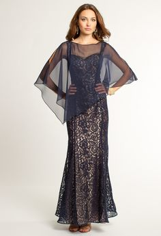 Two Tone Lace Dress with Chiffon Cape from Camille La Vie and Group USA