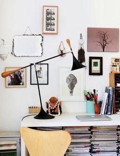 jasper morrison lamp in the studio of jewelry designer helena rohner (photo by maría de miguel) (HT sfgirlbybay.com)