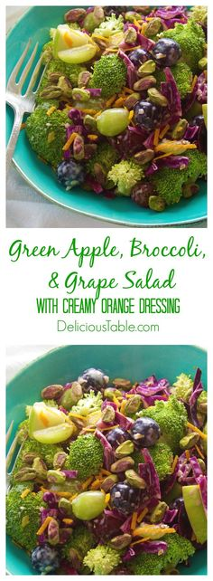 Crisp green apples, crunchy broccoli, and sweet grapes create a fresh and clean broccoli grape salad tossed in a light 3 ingredient creamy orange dressing!