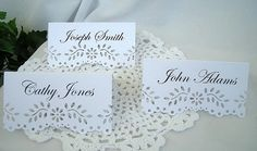Doily Eyelet Lace Place Escort Cards Wedding by AllThingsAngelas, $24.99