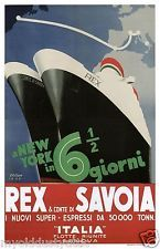 SS Rex and Conte di Savoia Italian Line Ocean Liners Poster 11 x 17