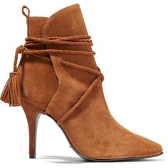 Schutz Fadhila tasseled suede ankle boots ($195) ❤ liked on Polyvore featuring shoes, boots, ankle booties, brown, suede bootie, pointy-toe ankle boots, brown high heel boots, high heel bootie and pointed-toe ankle boots