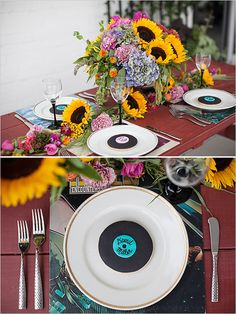 DIY record inspired place settings #weddingchicks