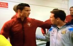 No Love Lost. Messi And Ronaldo Greet Each Other In The Tunnel Prior To Kickoff