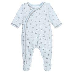 ABSORBA Boys Blue Organic Cotton Penguin Babygrow