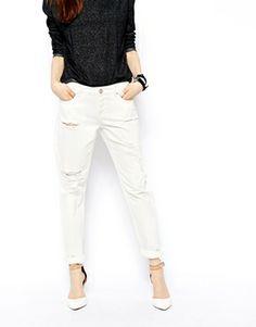Image 3 ofASOS Brady Low Rise Slim Boyfriend Jeans in Milk Wash with Rips
