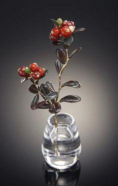 """Multi-gemstone Carving--""""Berries in a Vase"""""""