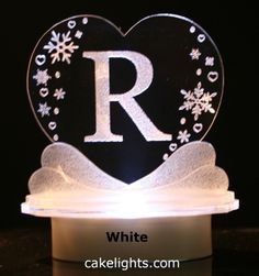 Heart Snowflake Monogram Cake Top