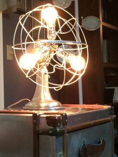 My lamp. Bought a antique fan lamp. It is a touch lamp made out of a antique fan.