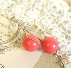 Pink Classic big Coral pearls Gold field earrings & by iloniti