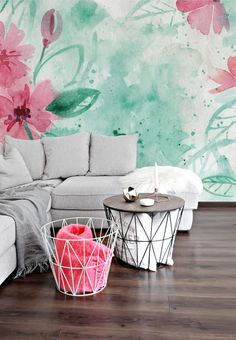 Watercolor Flowers - Adhesive Wallpaper - Removable Wallpaper - Wall Sticker - Colorful Mural - Customizable Wallpaper - Watercolor