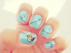 I saw a gal with her nails like this but it had a paper airplane flying through the clouds!