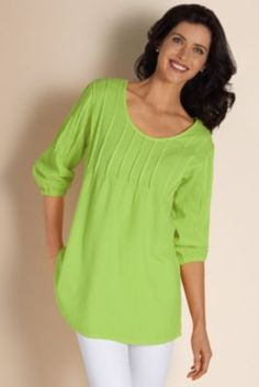 Pintuck Gauze Pullover - Crinkled Pullover, Empire Waist, Three-quarter Length Sleeves | Soft Surroundings