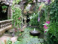 Dewstow Gardens and Grottoes Terry Winter Tropical Landscaping, Tropical Garden, Garden Landscaping, Asian Garden, Garden Fountains, Fountain Garden, Garden Ponds, Flower Garden Design, Flowers Garden