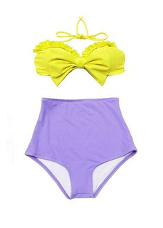 Yellow Bow Top and Violet Lavender Highwaisted High Waisted Waist High-Waist High-Rise Retro Swimsuit Swimwear Bathing Swim suit suits S M on Etsy, $39.99
