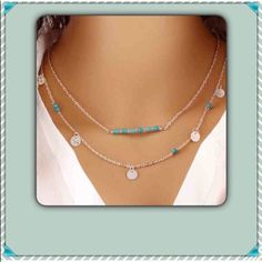 Boho double strand necklace NEW Great boho look silver toned and turquoise necklace. NEW Jewelry Necklaces