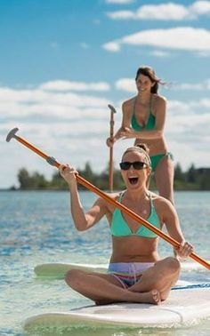 Paddleboarding is complimentary for guests of Old Bahama Bay (Grand Bahama Island)