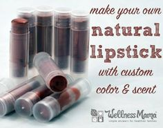 This homemade natural shimmer lipstick recipe combines beeswax, essential oils, coconut oil, and shea butter or cocoa butter with mica powder. Amazing!