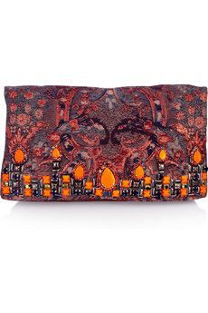 embellished brocade + suede clutch by matthew williamson