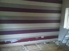 purple and grey stripped bedromm wallpaper - Google Search Grey Wallpaper, Bedroom Ideas, Stairs, Google Search, Purple, Home Decor, Grey Bedroom Wallpaper, Stairway, Staircases