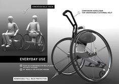 wow, Parafree is a sleek, minimalist wheelchair that offers a functional, stylish & sporty solution for paraplegics looking for a little extra workout throughout the day. The unique frame structure was designed to compel the paralyzed user to maintain constant balance, encouraging abdominal, back & core muscle training. The interaction of arms & core muscles leads to an upright position & helps reduce orthopedic damage.