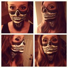 My winning skull bandana makeup for Halloween Great job cara! So proud to see this look win Halloween 2014, Halloween Ideas, Halloween Face Makeup, Half Skull Face, Bandana, Skulls, Body Art, Holidays, Diy