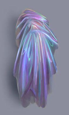 Digital Painting Tutorials, Digital Art Tutorial, Art Tutorials, Holographic Fabric, Iridescent Fabric, Texture Drawing, Fabric Drawing, Holography, Drawing Clothes