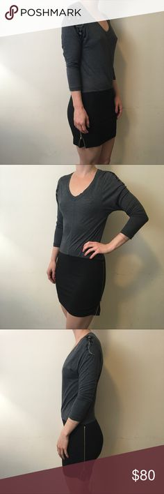 Theory Grey Embroidered Zipper Colorblock Dress Theory Dress with grey and black colors and has zipper side closures. Made of soft cotton and is in good condition worn once! Theory Dresses