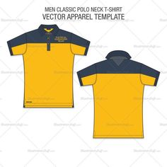 A vector template for Men Classic Polo Shirt Fashion Flat in vintage navy and contrast yellow colour. This perfect fashion flat for Men Polo Shirt is showing Fr