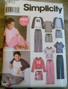 Easy Simplicity 5321 Child's Sewing Pattern Boys Girls Pants or Shorts, Top, Size 7 to 16, Uncut
