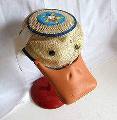 Vintage 1950's Donald Duck Squeaker Hat. I adore this! Great on a stand as pictured or for a child's room (it will either scare him/her or bring a laugh)  Whimsical. (Source. Etsy, kelleystreetvintage's shop)