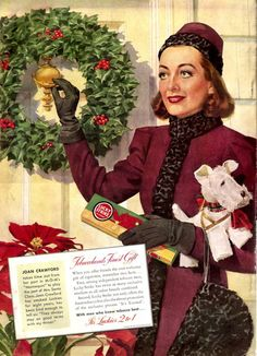 Joan Crawford in a 1937 Christmas ad for Lucky Strike Cigarettes