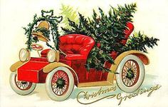 Christmas 1912 Automobile Decorated Christmas Tree Vintage Embossed Postcard