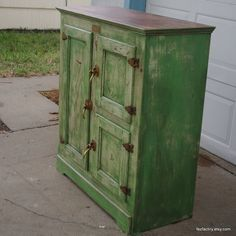 Green And Cream Nostalgic Ice Box Cabinet
