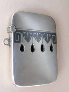 ANTIQUE MATCH SAFE NIELLO SILVER STERLING