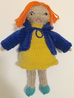 Doll | hand knitted doll | girl stuffie | soft toy | rag doll | girl gift  Mim is a grumpy knitted doll who was designed and knitted with love by me! She would make the perfect gift for any occassion.  Mim likes playing playing make believe, but dislikes being told what to do. She stands approx. 12 tall, and has a removable blue hoodie.  (made with acrylic yarn, stuffed with premium polyester fiberfill)  All of my creations are made in a smoke-free, pet-free home. Each toy is one-of-a-kind…