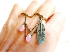 Pastel Blue green double ring feather pink drop by liliFunambule