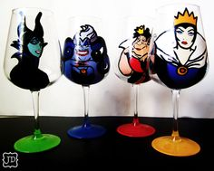 Disney Evil queen collection - set of 4 hand painted wine glasses